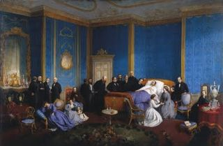 Albert on his deathbed in the Blue Room at Windsor Castle, December 1861.