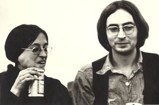 Lee lally & Terence Winch, Mass Transit poetry reading, early '70s, DC. Photo by Jesse Winch.