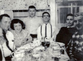 Paddy Winch, Bridie Winch, Kenny Reich, Jesse [Jimmy] Winch, Terence Winch, P.J. Conway, kitchen of 1912 Daly Ave, Bronx, ca. 1961