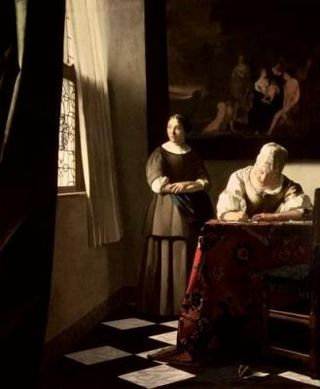 Lady-writing-a-letter-with-her-Maid--c-1670-Jan-Vermeer-300059