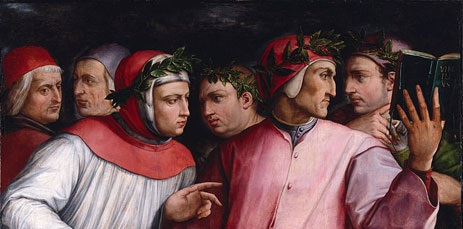 Detail from Vasari's Portrait of Six Tuscan Poets. Dante is reading the book on the right; Cavalcanti is facing him.