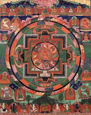 Painted_17th_century_Tibetan_%27Five_Deity_Mandala%27%2C_in_the_center_is_Rakta_Yamari_%28the_Red_Enemy_of_Death%29_embracing_his_consort_Vajra_Vetali%2C_in_the_corners_are_the_Red%2C_Green_White_and_Yellow_Yamari