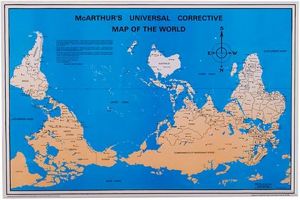 Undiscovered countries radical poem cartography by ailish hopper or published views of reality there are maps that show alternative orientations here is one that overturns a north american orientation to center it gumiabroncs Image collections