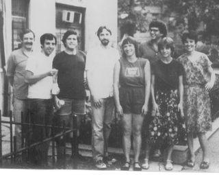 Doug Lang, Myron Bretholz, John McCarthy, Terence Winch, Beth Rake, Bernard Welt, Becky Levenson, Susan Campbell, late 1970s, 1920 S St NW, DC