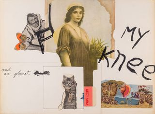 My Knee by George Schneeman & Michael Brownstein, 1969 or 1970 (mixed media on illustration board)