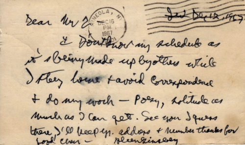 Ginsberg post card