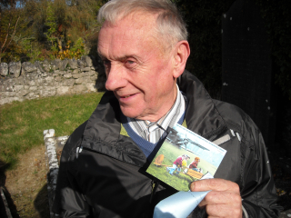 Graveyard Money---my cousin Martin Flynn finds a card with a 20 Euro note in it at Raftery's grave in Galway  Oct 2016 [BAP]