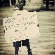 Young black man walking