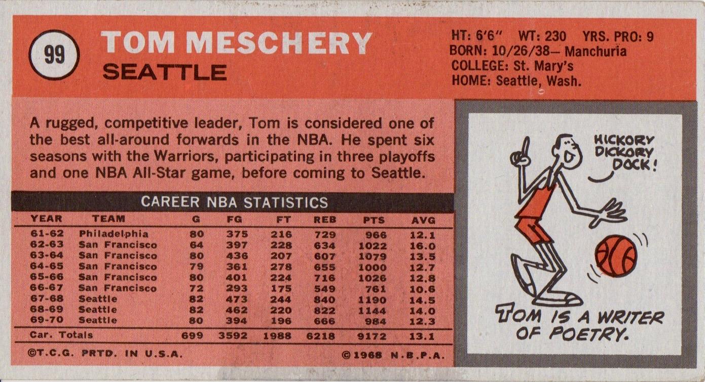 Tom Meschery The Most Interesting Man [by Alan Ziegler] The