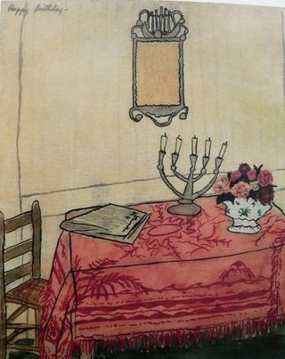 Table with Candelabra  by Elizabeth Bishop