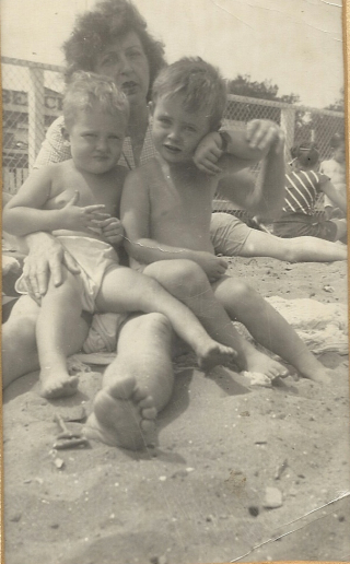 Dennis O'Toole  Bridie [Flynn] Winch  Terence Winch  Aug. 1948  Rockaway Beach  NY