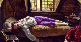 George Meredith posed for Henry Wallis Death of Chatterton 1856