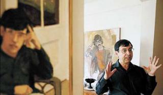 David Shapiro with two portraits