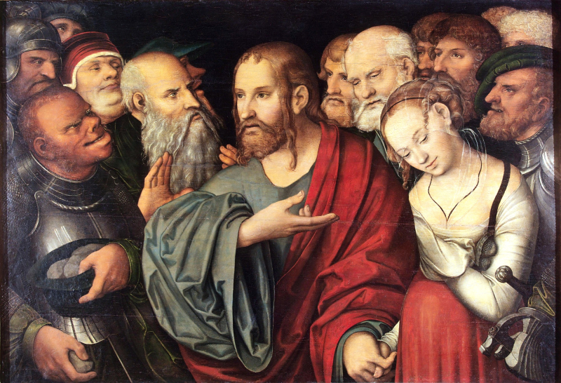 Cranach  Lucas II. 1515-1586. Christ and the Woman Taken in Adultery. After 1532. Oil on copperplate. 84 X 123 cm.