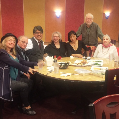 Left to right-- Jeanne Calvit  husband of Lisa Von Drasek  Sherman Alexi  Lisa Von Drasek  Wang Ping  Bob Hershon  Donna Brook