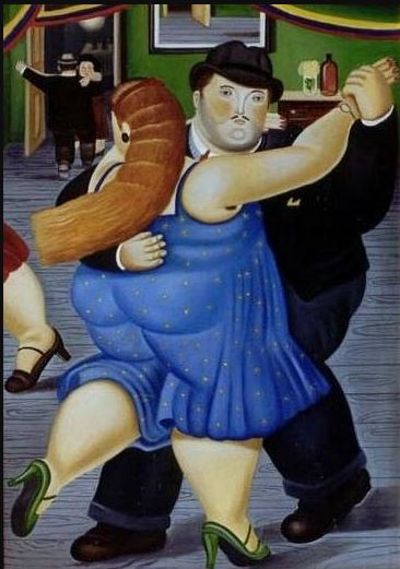Fernando Botero (1932--)  Couple Dancing [unsigned; possibly an imitation of his work]