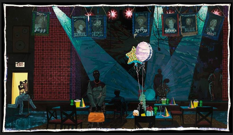 Kerry James Marshall Untitled (Club Scene) 2013. Acrylic and glitter on unstretched canvas.